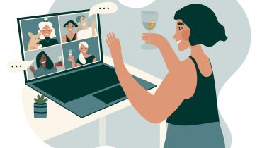 Cozy covid-19 quarantine evening at home on virtual online party meeting with boys and girls and glass of wine or cup of tea. Fun friends web conference vector illustation. Character design.